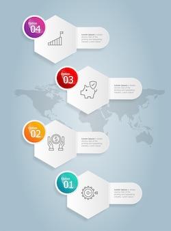 Modello di elemento di presentazione di infographics verticale esagonale astratto con sfondo di illustrazione vettoriale di opzione 4 di affari