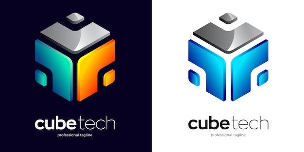 Logo esagonale astratto con due opzioni di colore