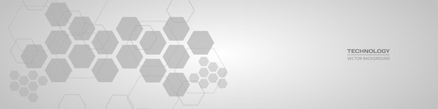 Banner orizzontale grigio morbido medico esagonale astratto