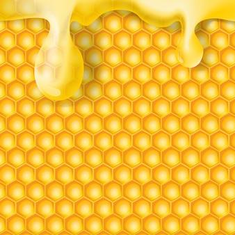 Sfondo astratto a nido d'ape con realistica goccia di miele trasparente.