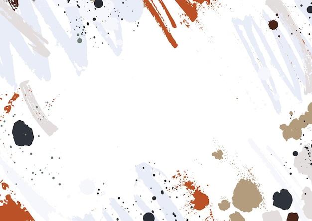 Sfondo astratto orizzontale con tracce di vernice colorata, macchie, macchie e pennellate su sfondo bianco