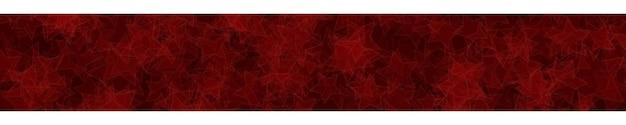 Banner orizzontale astratto o sfondo di stelle traslucide distribuite casualmente con contorni in colori rossi.