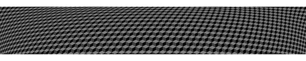 Banner orizzontale astratto o sfondo di piccoli cubi isometrici nei colori grigi.