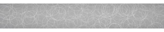Banner orizzontale astratto di contorni di cerchi disposti casualmente su sfondo grigio