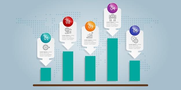 Infografica astratta del grafico di crescita orizzontale 5 passaggi con il modello dell'icona per il fondo dell'illustrazione di vettore di presentazione e di affari