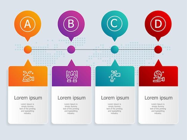 Modello di elemento infografica timeline orizzontale astratto con icone di ambiente