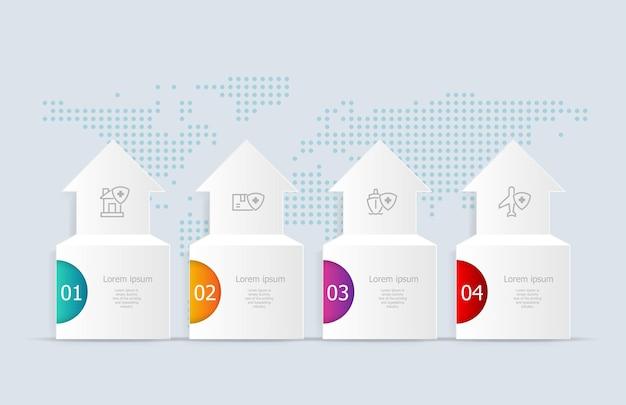 Infographics astratto orizzontale timeline 4 passaggi con mappa del mondo per il business