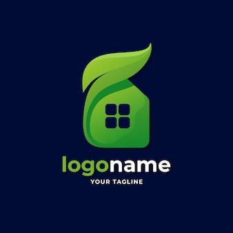 Logo astratto della casa con stile sfumato foglia per società di affari immobiliari di proprietà residente naturale
