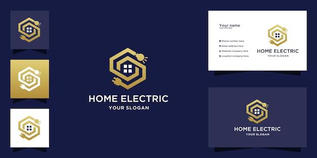 Logo astratto della casa con design del percorso della lampadina