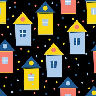 Fondo senza cuciture astratto della casa. artigianato infantile fatto a mano per biglietti di design, carta da parati di capodanno, album di natale, inviti, carta da regalo per le vacanze, tessuto, stampa di borse, t-shirt ecc.