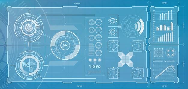 Hud astratto. illustrazione per la progettazione. sfondo tecnologico.