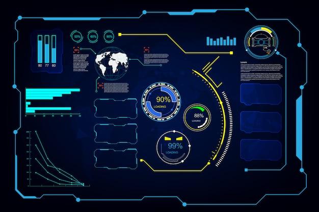 Fondo virtuale del sistema futuristico dello schermo futuristico astratto del ui gui di hud di hud