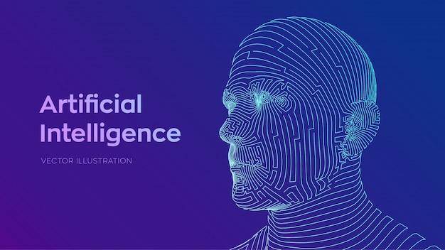 Volto maschile umano astratto. testa umana nell'interpretazione digitale del robot. ai. concetto di intelligenza artificiale.