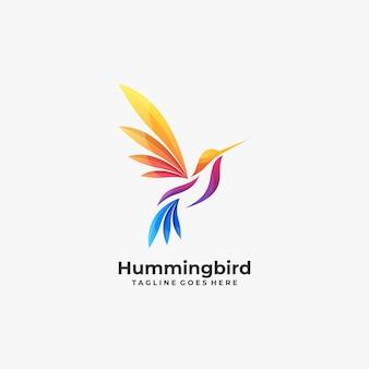 Logo variopinto dell'uccello di ronzio astratto.