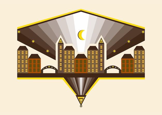 Illustrazione astratta di una città con edifici e ponti sullo sfondo del mese