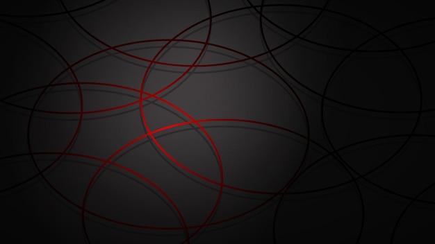 Illustrazione astratta di cerchi intersecanti rosso scuro con ombre su sfondo nero