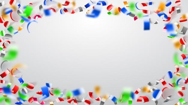 Illustrazione astratta di volare coriandoli colorati lucidi e pezzi di serpentino su sfondo bianco