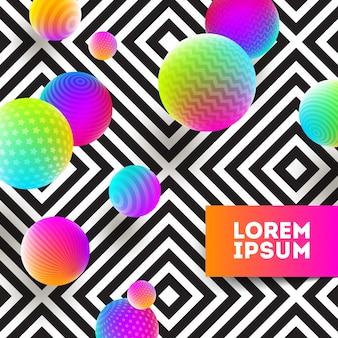 Illustrazione astratta - palla multicolore su uno sfondo geometrico bianco e nero.