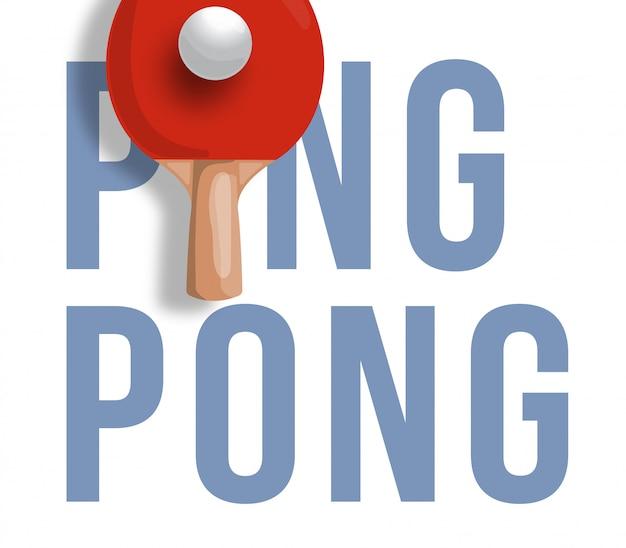 Illustrazione astratta della racchetta da ping pong su sfondo chiaro. testo ping pong. ping pong.