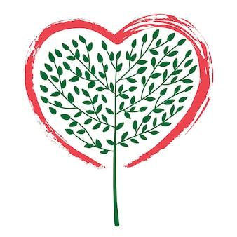 Un'illustrazione astratta di un albero che cresce a forma di cuore concept design