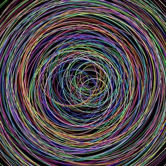 Illustrazione astratta di vari cerchi di colore su sfondo nero