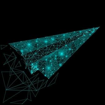 Immagine astratta di un origami di aereo sotto forma di cielo stellato o spazio, costituito da punti, linee e forme sotto forma di pianeti, stelle e universo.
