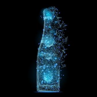 Immagine astratta di una bottiglia di champagne low poly a forma di cielo stellato o spazio,