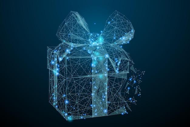 Immagine astratta di un regalo sotto forma di cielo stellato o spazio costituito da linee di punti