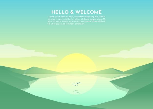 Immagine astratta di un tramonto o di un sole all'alba sulle montagne sullo sfondo e sul fiume o sul lago in primo piano. paesaggio di montagna. illustrazione
