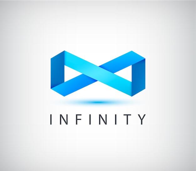 Astratto infinito origami 3d logo, icona isolata.