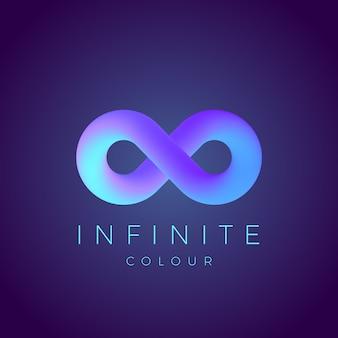 Simbolo di infinito astratto con sfumatura moderna e tipografia. su sfondo scuro