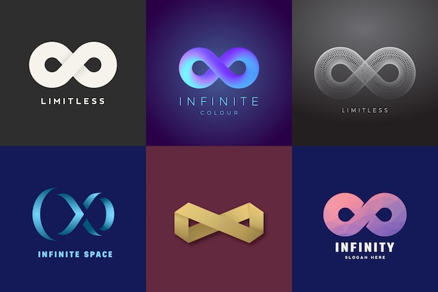 Raccolta astratta di simboli di infinito dei modelli di logo del segno senza limiti.