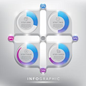 Grafico astratto di informazioni con gli elementi del cerchio. concetto di 4 parti. isolato sul pannello bianco. illustrazione. eps10