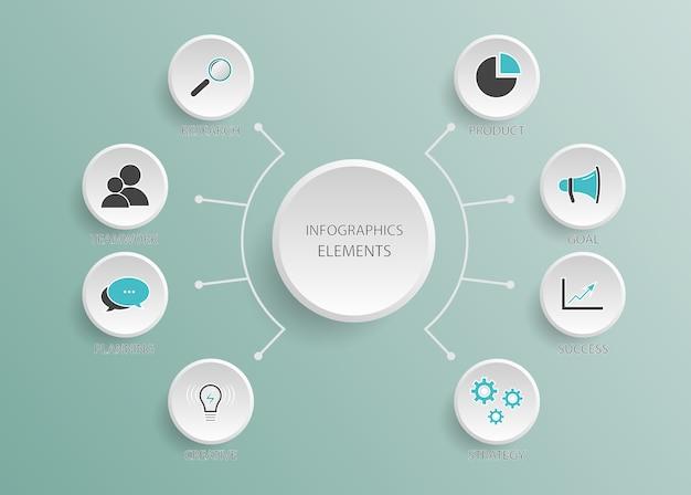 Modello astratto di infografica con cinque passaggi per il successo. spazio vuoto per contenuto, affari, infografica, diagramma, diagramma di flusso, diagramma, sequenza temporale o processo di passaggi
