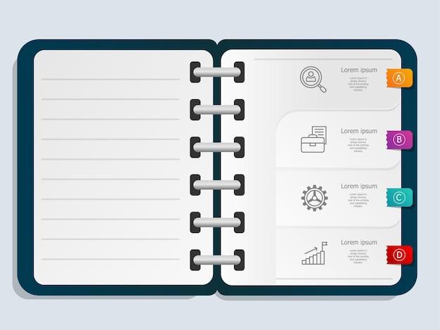 Modello del taccuino dell'elemento di presentazione di infographics astratto con l'icona di affari