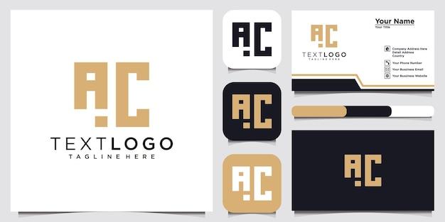 Lettera iniziale astratta modello di progettazione del logo ac ca e biglietto da visita