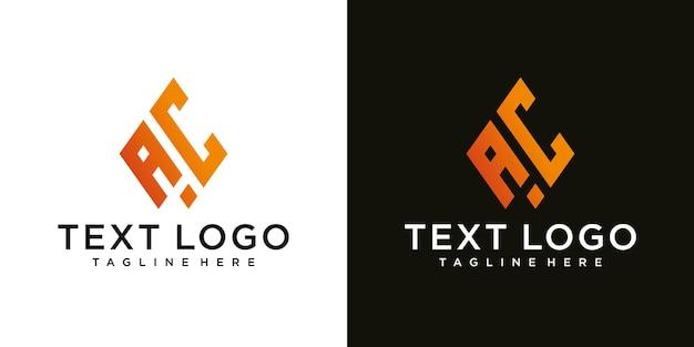 Lettera iniziale astratta ac ac minimal logo design template