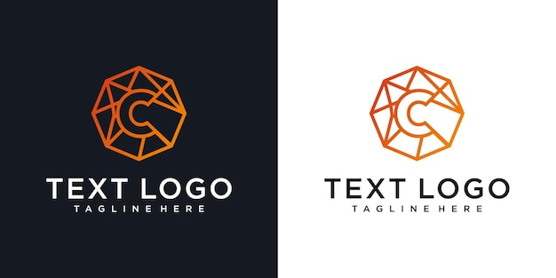 Icone astratte della tecnologia di progettazione del logo della lettera iniziale c per il business del gradiente di lusso