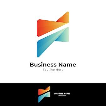 Lettera iniziale astratta f logo