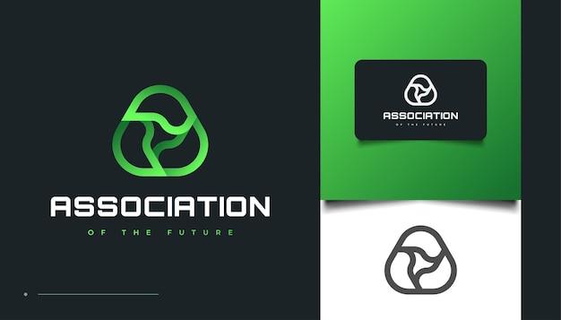Lettera iniziale astratta a logo design con stile triangolo infinito