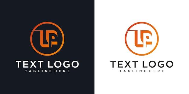 Lettera iniziale astratta lp lp con modello di progettazione del logo minimale a foglia