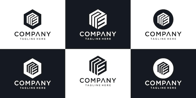 Lettera iniziale astratta m3 m 3 minimal logo design template