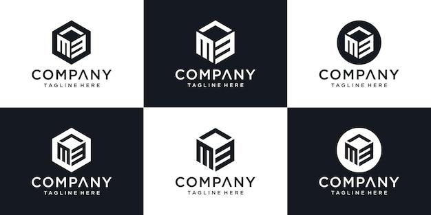 Lettera iniziale astratta m3 m 3 modello di progettazione del logo minimo