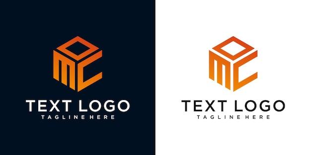 Lettera iniziale astratta mc mc modello di progettazione del logo minimo