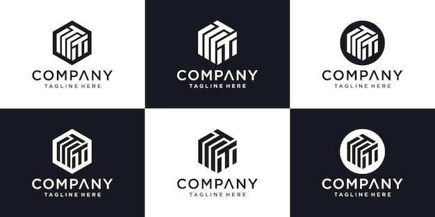 Lettera iniziale astratta t modello di progettazione del logo minimo