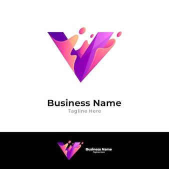Lettera iniziale astratta v logo