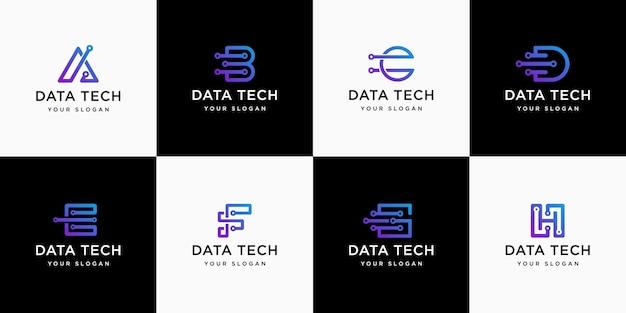 Insieme iniziale astratto di lettere, modello di logo, gradiente, tecnologia.