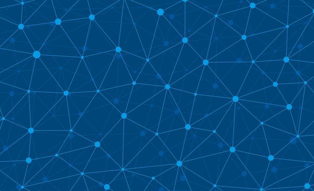 Connessione internet astratta e carta da parati grafica web design di tecnologia. plesso poligonale digitale geometrico con struttura a particelle molecolari. griglia futuristica del triangolo blu. illustrazione di dati vettoriali Vettore Premium