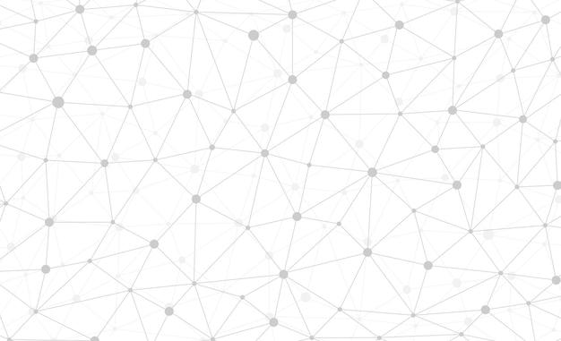 Connessione internet astratta e carta da parati grafica web design di tecnologia. plesso poligonale digitale geometrico con struttura a particelle molecolari. griglia futuristica del triangolo bianco. illustrazione di dati vettoriali Vettore Premium