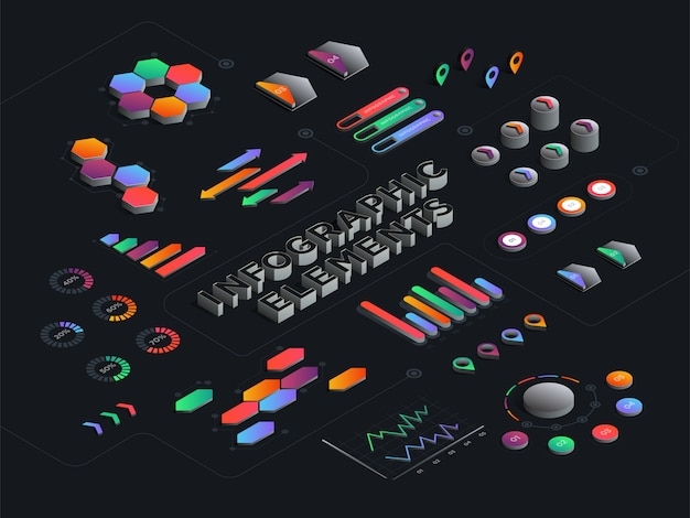 Modello astratto infografica isometrica. grafici di dati commerciali 3d, finanziari, di marketing e diagrammi grafici. illustrazione vettoriale